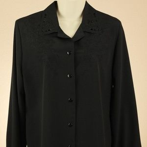Allison Daly Blouse Black 8 M Cutout NEW